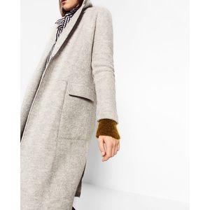 Zara TRF Outerwear Wool Open Front Collared Jacket